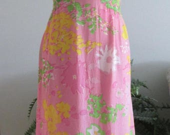 Outstanding Tat Saunders Pink Silk Crepe Evening Gown Circa 1960's  #17226
