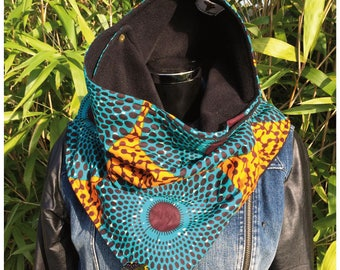 Snood 3 in 1 Choker in African fabric and fleece No.12