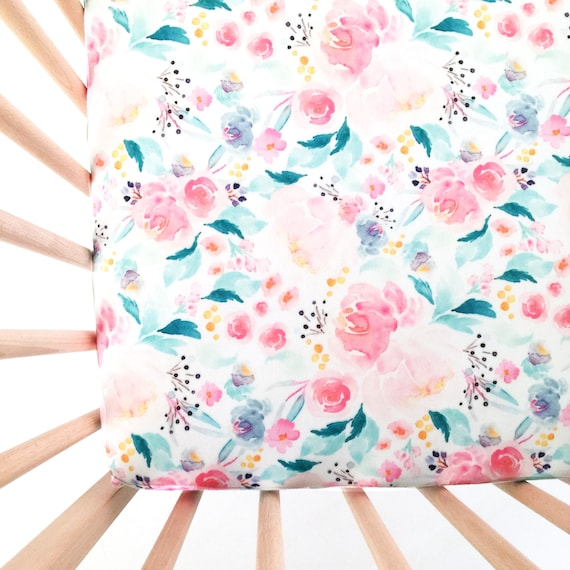 Crib Sheet Mermaid Floral Fitted Crib Sheet Baby Bedding