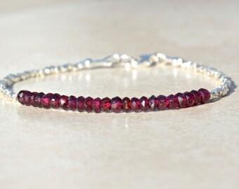 Garnet, Garnet Gemstone Bracelet, Garnet Jewelry, Hill Tribe Silver, Beaded Bracelet, January Birthstone Bracelet, Birthday Gift For Her