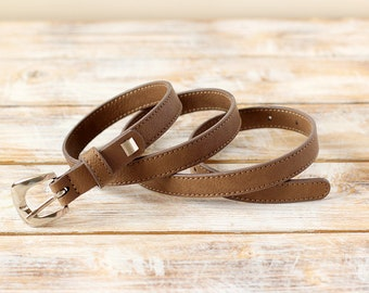 FREE SHIPPING | Brown belt, brown vegan belt, faux leather belt, vegan belt, eco leather belt, womens belt, brown waist belt, gift for her
