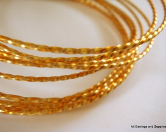 Twisted Wire Gold Plated Non-Tarnish 21 Gauge Soft Tempered - 15 feet - STR9068WR-TWG15
