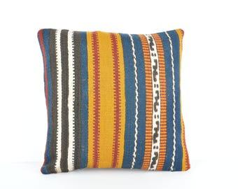 16x16 Kilim Pillow, Decorative Kilim Pillow, Kilim Pillow Case, Turkish Kilim Pillow, Kilim Cushion, 40x40 cm Kilim Pillow