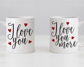 Mug Set - his n hers - I Love You & I Love You More