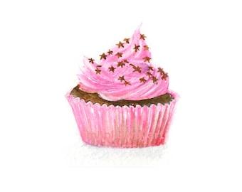 Watercolor Cupcake, Cupcake Print, Pink Cupcake Print
