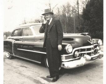 "Vintage Snapshot ""Grandpa's Cadillac"" Coupe de Ville Luxury Car Classic Automobile Found Photo"