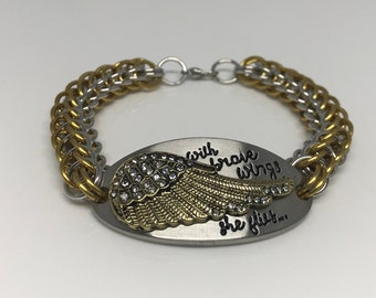 With Brave Wings She Flies Full Persian Chainmaille Silver and Yellow Bracelet