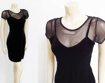 Black Dress, Size 12, Velveteen Dress, Short Black Dress, Evening Dress, Christmas Dress, Boho, Clothing, Girls Vintage, Women's Vintage
