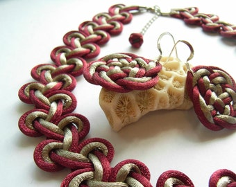 Necklace with 925 Silver Earring Set - By Chinese Knot & Celtic Knot - Burgundy, Brownlish Gray