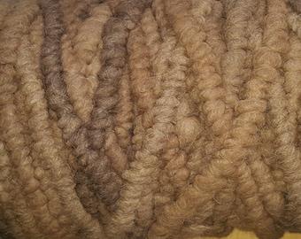 Brown Alpaca Rug Yarn - Corespun Alpaca Yarn - 75 yards - 100% Virginia alpaca fiber - undyed  thirds - Clearance Sale