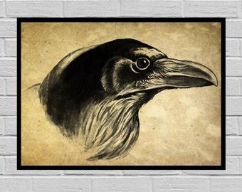 Antique Raven print, Old Paper, Vintage Dictionary page, Raven poster, Vintage Raven Art, Black and white Print, prints, Raven print H18