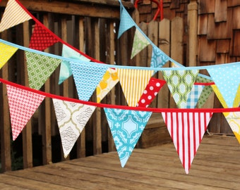 CUSTOM 30 Foot Bunting, Wedding Party Flags, Birthday Decoration, Photo Prop.  LARGE Sized Flags in Cotton Fabrics by Popular Designers.