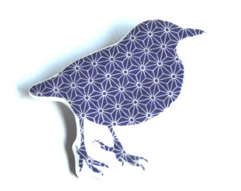 Graphic Blue & White Bird polymer clay and resin brooch, vintage style and retro