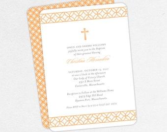 Baptism Invitation, Christening Invitation, Girl Baptism, Printable Baptism Invitation, Invite PDF, Modern, Traditional, Peach, Christina