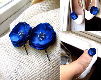 Royal Blue Wedding Hair Flower Girl, Silk Blue Floral Piece Shoe Clip, Small Satin Fabric Flower Bobby, Cobalt dress Pin, Horizon Bridesmaid