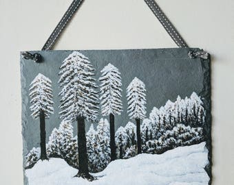 Original hand painted winter snow scene on natural slate, snowy trees picture, home decor