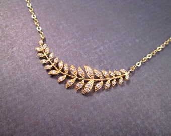Leaf Vine Necklace, Cubic Zirconia Pendant, Gold Chain Necklace, FREE Shipping U.S.