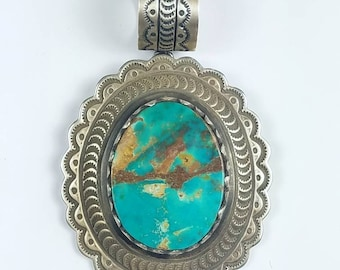 Native American Navajo handmade Sterling Silver Turquoise stone pendant