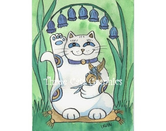 The Bluebells Are Ringing Out Good Luck - Choose from ACEO Print, Note Card with Stickers, or Art Print