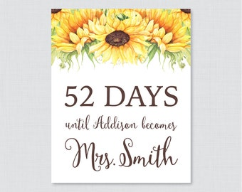 Sunflower Days Until Mrs Bridal Shower Sign Printable - Rustic Bridal Shower Days Until Wedding Sign - Yellow Sunflower Days Until 0016-A