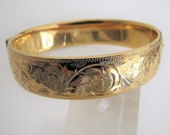 Victorian Revival 9ct Rolled Gold Hinged Bracelet. Engraved Lily Flowers, Ferns. Vintage 20 Microns Gold Filled Bangle. F Manshaw London.