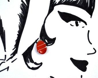 Vintage Mod Earrings - Red White Enamel Clip On