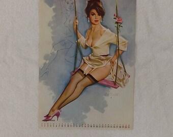 Fritz Willis Vintage Pin up Girl Risque Calendar Page 1965