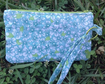 Blue and green floral wristlet.