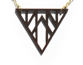 Geometric Triangle Laser Cut Wooden Necklace 5