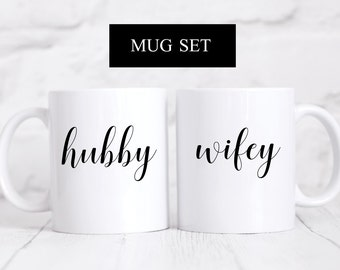 Hubby & Wifey Mug Set, Wedding Mug Set, Wedding Gift, Husband and Wife Mug, Husband Gift, Wife Gift, Engagement Gift, Wedding Mug, Engaged