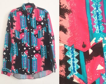 Vintage 90s Wrangler Shirt // 1990s, Western Print, Pink, Turquoise, Men's Size Large
