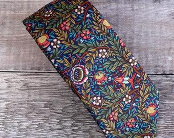 Liberty print tie - Liberty Peach Porter blue tie - wedding tie - Liberty tie - frog tie