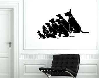 Vinyl Wall Decal Pack of Dogs Pet Shop Grooming Salon Vetclinic Stickers Mural (#2669di)