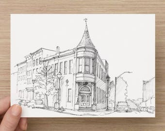 Ink sketch of architecture in Fells Point, Baltimore - Drawing, Art, Architecture, Historic, Pen and Ink, 5x7, 8x10, Print
