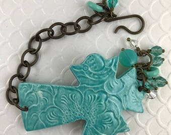 Cross Bracelet, Statement Bracelet, Teal Bracelet