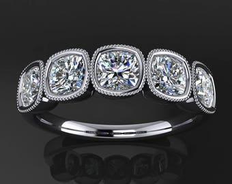 chloe ring – 1.5 carat NEO moissanite 5 stone anniversary band, 5 stone ring