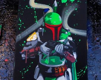 Boba Fett. Spray Paint Art.