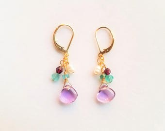 Amethyst and Apatite Gemstone Gold-filled Leverback Earrings