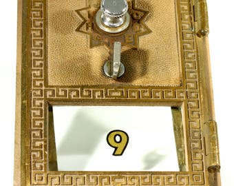 Antique Brass and Glass No. 9 USPS Post Office Box Door - Antique Steampunk Upscale - Greek Key Design Pattern - Corbin Cabinet Lock Company