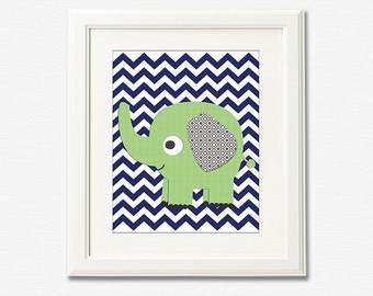 NAVY and green elephant nursery Art Print - 8x10 - chevron, Children wall art, baby boy wall decor, grey - UNFRAMED