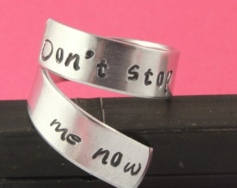 SALE - Don't Stop Me Now Wrap Twist Ring - Adjustable Aluminum Ring - Handstamped Ring