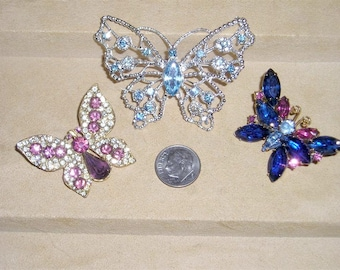 Vintage Lot Of Three Rhinestone Butterfly Brooches Pins Collection One Signed Dodds 1940's-60's Jewelry 3027