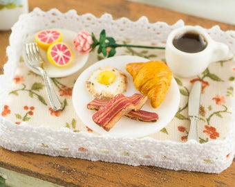 Miniature Mother's Day Breakfast Tray - 1:12 Dollhouse Miniature