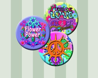 PEACE AND LOVE -  Digital Collage Sheet - 1.837 inch round circles for 1.5 inch button and badge images. Instant Download #209.