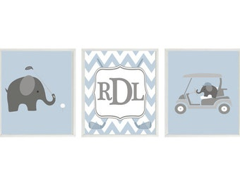 Elephant Golf Nursery, Golf Wall Art, Elephant Prints, Monogram, Personalized Wall Art, Gray Light Blue, Chevron Print, Baby Boy Golf, Gift