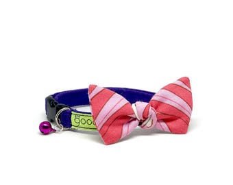 GOOOD Cat Collar | Flutterfly - Pink Pearl | 100% Pink & Purple Cotton Fabric | Safety Breakaway Buckle