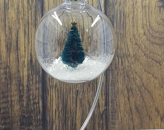 Christmas Bulb Ornament Snowy Tree