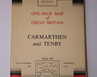 1952 National Grid Seventh Series Ordnance Survey Map Carmarthen and Tenby Sheet 152 Cloth