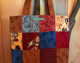 Western Patchwork Market Tote, Quilted Market Tote, Quilted Shopping Bag, Market Tote, Grocery Bag