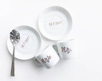 Mr. and Mrs. Espresso Mug and Saucer Set; Custom Espresso Mug Set; Wedding Gift Espresso Mugs; Wedding Date Espresso Mugs; Custom Saucer